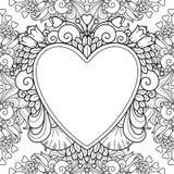 Marco decorativo del amor con los corazones Fotografía de archivo
