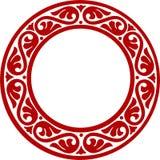 Marco decorativo del círculo con las flores abstractas Fotografía de archivo