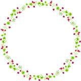 Marco decorativo del círculo con las ramas y las mariquitas Fotografía de archivo libre de regalías