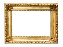 Marco decorativo del oro aislado en blanco fotos de archivo