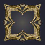Marco decorativo del vector del rectángulo del brillo del oro de Art Nouveau para el diseño Art Deco Style Border Fotografía de archivo libre de regalías
