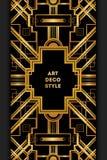 Marco decorativo del vintage de Art Deco Plantilla retra del diseño de tarjeta Fotos de archivo libres de regalías