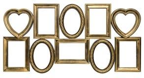 Marco decorativo dorado de la foto Fotos de archivo libres de regalías