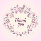Marco decorativo rosado de la flor para el texto Gracias expresar Ilustraci?n del vector stock de ilustración