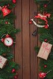 Marco del árbol de abeto de la Navidad Imagenes de archivo