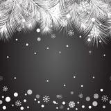 Marco del árbol de la piel de la Navidad para el diseño de Navidad con nieve Fotos de archivo