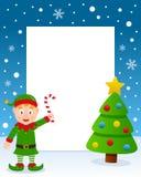 Marco del árbol de navidad - duende verde feliz ilustración del vector