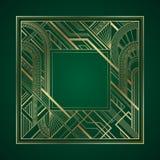 Marco del Año Nuevo del art déco 2019 del oro en fondo verde oscuro ilustración del vector