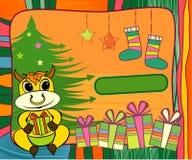 Marco del Año Nuevo con el toro amarillo stock de ilustración