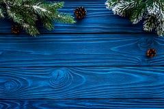 Marco del Año Nuevo Conos Spruce de la rama y del pino en copyspace de madera azul de la opinión superior del fondo Fotos de archivo libres de regalías