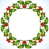 Marco del acebo de la Navidad Fotografía de archivo