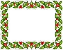 Marco del acebo de la Navidad Imagenes de archivo