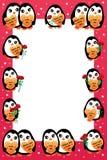 Marco del amor del pingüino stock de ilustración