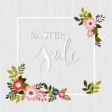 Marco del anuncio de la venta de Pascua con los elementos florales Vector Fotografía de archivo
