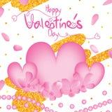 Marco del brillo del oro de la perla del amor de la flor de la cereza de día de San Valentín stock de ilustración