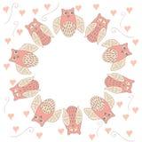 Marco del círculo con el búho y el corazón Foto de archivo libre de regalías
