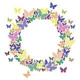 Marco del círculo con las mariposas para su texto Foto de archivo