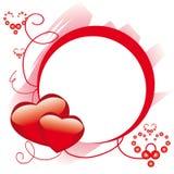 Marco del círculo con los corazones Imagenes de archivo