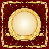 Marco del círculo de la vendimia del oro con la cinta stock de ilustración