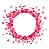 Marco del círculo de pétalos color de rosa rosados ilustración del vector
