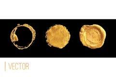 Marco del círculo y sistema de oro del vector del sello de la cera stock de ilustración