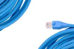 Marco del cable del ordenador aislado en blanco Fotografía de archivo