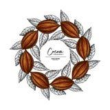 Marco del cacao Plantilla del dibujo del superfood del vector Grabado de la fruta, de la hoja y de la haba Bosquejo sano orgánico imágenes de archivo libres de regalías