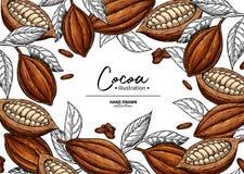 Marco del cacao Plantilla del dibujo del superfood del vector Grabado de la fruta, de la hoja y de la haba Comida sana orgánica fotos de archivo