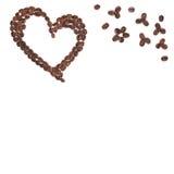 Marco del café del corazón aislado Fotografía de archivo