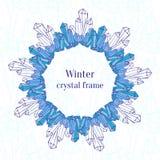 Marco del copo de nieve Decoración azul de los cristales de hielo stock de ilustración