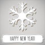 Marco del copo de nieve y saludos del Año Nuevo Imágenes de archivo libres de regalías