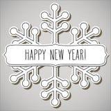 Marco del copo de nieve y saludos del Año Nuevo fotografía de archivo