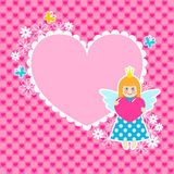 Marco del corazón con la princesa linda stock de ilustración