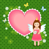 Marco del corazón con la princesa linda Fotografía de archivo