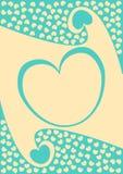 Marco del corazón con la tarjeta del día de tarjetas del día de San Valentín de la frontera de la onda Fotos de archivo