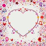 Marco del corazón con los pájaros y las flores Fotos de archivo