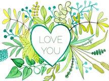 Marco del corazón de la acuarela con las flores y ramas verdes con amor que usted expresa en él Quiérale tarjeta Imagen de archivo libre de regalías