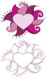 Marco del corazón del Doodle Foto de archivo libre de regalías