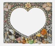 marco del corazón que adornó por la cáscara Foto de archivo libre de regalías