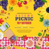 Marco del cuadrado de la comida campestre de la temporada de otoño Vector el cartel o la bandera con las hojas de otoño, comida E stock de ilustración