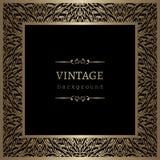 Marco del cuadrado del oro del vintage Imagenes de archivo