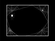 Marco del cuadrado del web de arañas en negro Foto de archivo