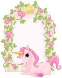 Marco del cuento de hadas con unicornio stock de ilustración