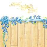 Marco del día de fiesta con las flores y el arqueamiento de la cinta stock de ilustración
