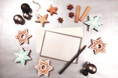 Marco del día de fiesta de la Navidad y del Año Nuevo Imágenes de archivo libres de regalías