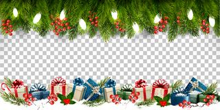Marco del día de fiesta de la Navidad con las ramas de las cajas del árbol y de regalo encendido ilustración del vector