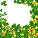 Marco del día de St Patrick s con verde y tréboles de la hoja del oro cuatro y tres, monedas de oro en el fondo blanco Partido Fotos de archivo libres de regalías