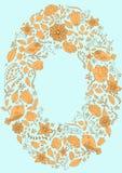 Marco del drenaje de la mano de las hojas del pájaro de la flor Imágenes de archivo libres de regalías