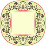 Marco del estampado de flores. Redondo. Amarillo, Brown y coral Foto de archivo