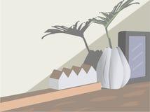 Marco del florero, blanco y negro Una casa modelo colocada en la tabla imagenes de archivo